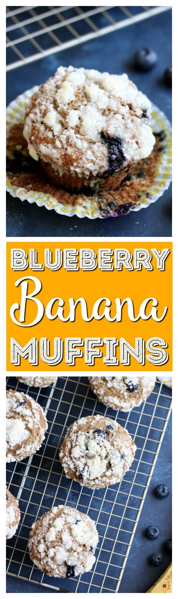 These Banana Blueberry Whole Wheat Muffins are packed with wholesome ingredients. They make a delicious breakfast that tastes like a decadent dessert. via @sugarandsoulco