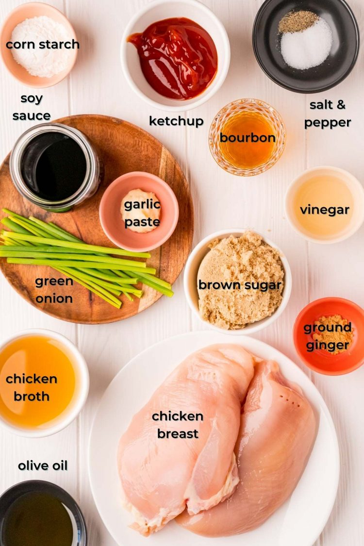 Overhead photo of ingredients prepper to make bourbon chicken.