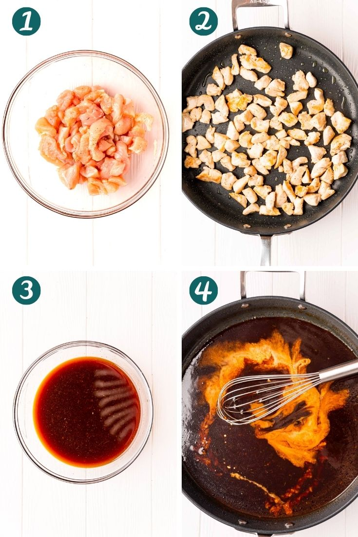 Steo-by-step photo collage showing how to make bourbon chicken.