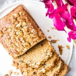 This Spiced Pumpkin Bread Recipe is loaded with amazing spices and chopped walnuts, it's the perfect quick bread for fall!