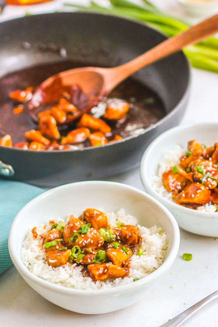 This Spicy Bourbon Chicken is an easy and flavorful dish that's perfect for weeknight meals! It's easy to spice it how you'd like so it fits your family.
