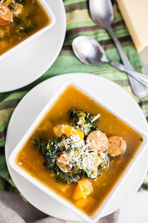 Crockpot Butternut Squash, Sausage, and Kale Soup