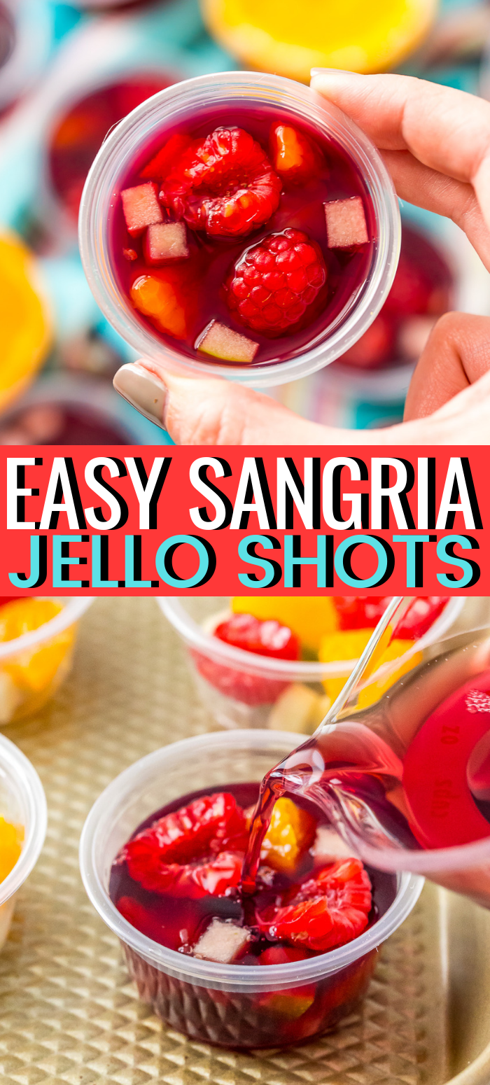 Sangria Jello Shots recipe turn a classic wine punch into a fun party shot! These cocktails are great for all your get-togethers and are made ahead of time for easy entertaining! via @sugarandsoulco