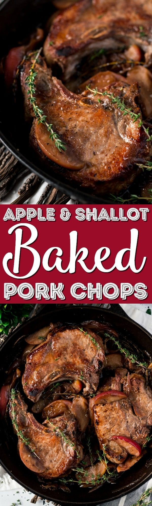 This Baked Pork Chops recipe will be an instant family dinner favorite! Made with wine, apples, and shallots, there's so much flavor in this pork recipe!