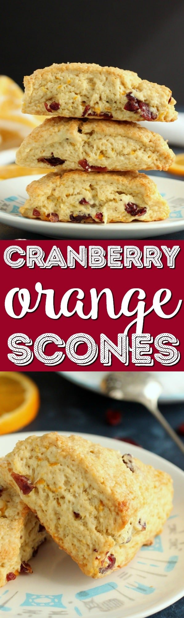 These delicious Cranberry Orange Scones are great for breakfast, as an afternoon snack, or even as a dessert. The smaller portion is perfect for a quick bite on the go without the guilt. via @sugarandsoulco
