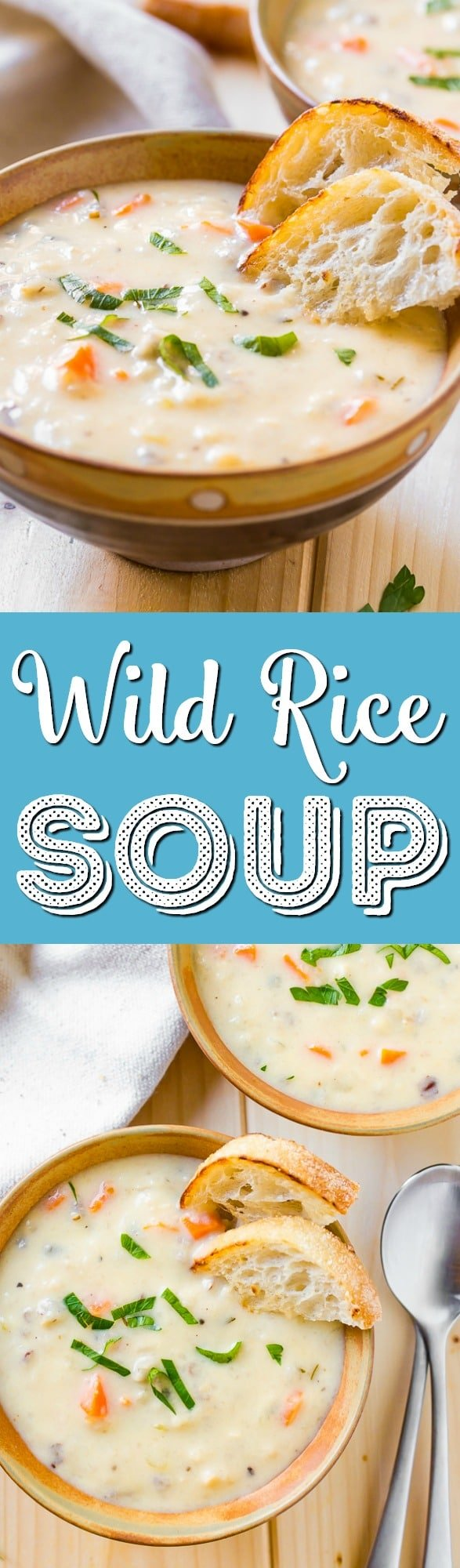 Creamy Wild Rice Soup is the perfect slow cookersoup for cold winter nights and loaded with a wild rice blend fresh,carrots, and celery. via @sugarandsoulco
