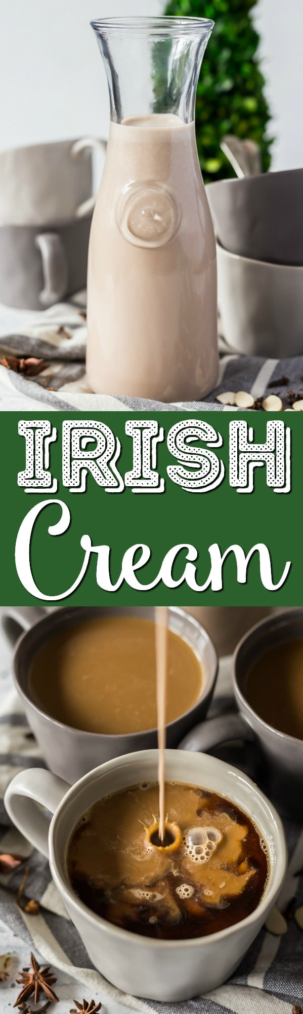 This Homemade Irish Cream Recipe is way better than the store-bought version, delicious notes of coffee, coconut, almond, chocolate, and loaded with Irish Whiskey and cream. via @sugarandsoulco