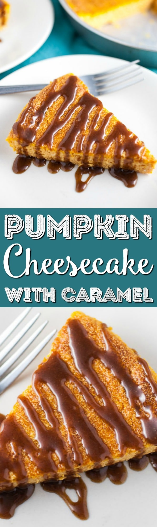 A light and fluffy Japanese-style pumpkin cheesecake recipe topped with a rich cinnamon and nutmeg infused caramel sauce. The perfect easy fall dessert! via @sugarandsoulco