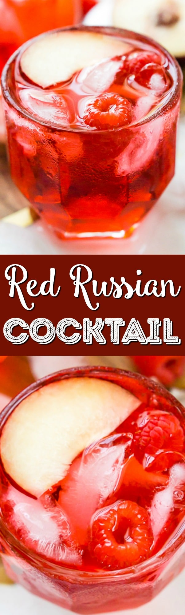 A Red Russian Cocktail is made with equal parts cherry liqueur and vodka over ice. Serve it up in a punch bowl for parties or serve it in short glasses for individual cocktails.  via @sugarandsoulco