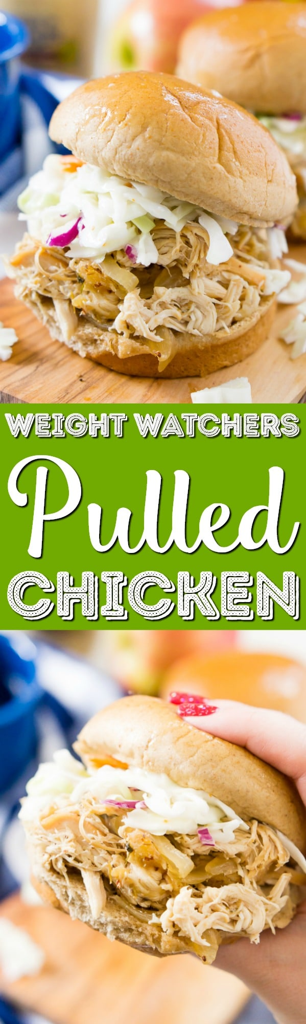 This Apple Cider Pulled Chicken is Weight Watchers approved and so easy to make! You can turn it into sandwiches, tacos, sliders, or serve it over rice! via @sugarandsoulco