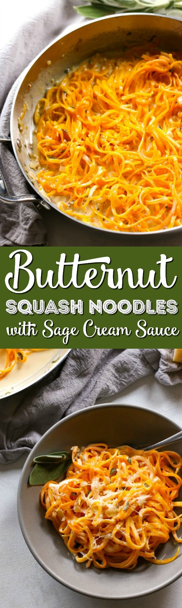 These Butternut Squash Noodles with Sage Cream Sauce are creamy, crunchy, and earthy! It's a super versatile meal - Add a protein of your choice, eat it as a side, or keep it vegetarian. via @sugarandsoulco