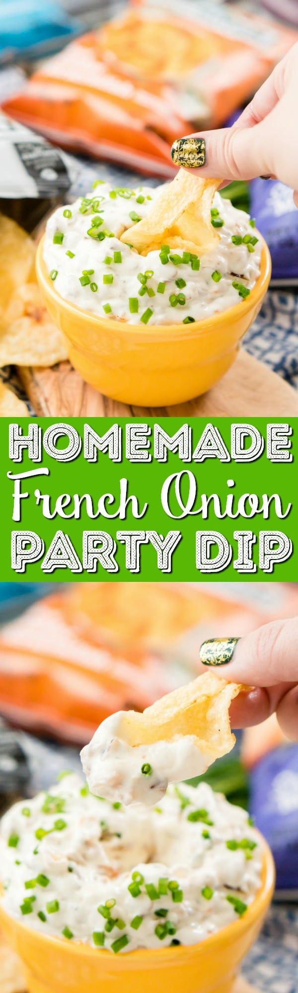 This French Onion Dip is an easy and delicious appetizer recipe, serve it with chips for an instant party favorite! via @sugarandsoulco