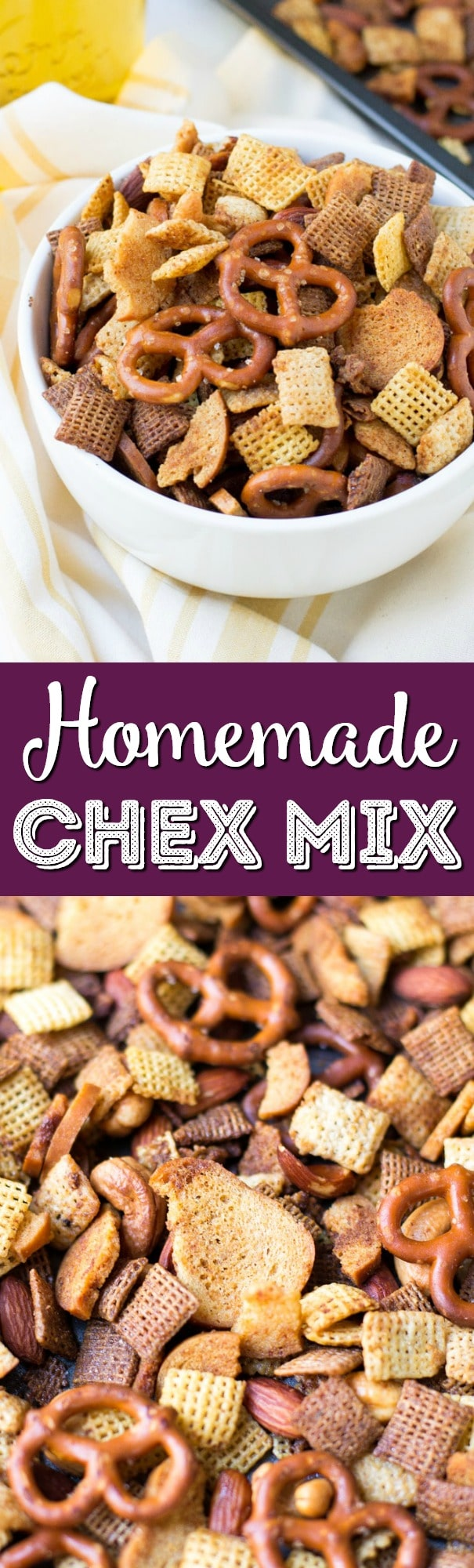 This Homemade Chex Mix is crunchy, buttery and full of flavor this easy party mix is the perfect snack for holiday entertaining! via @sugarandsoulco