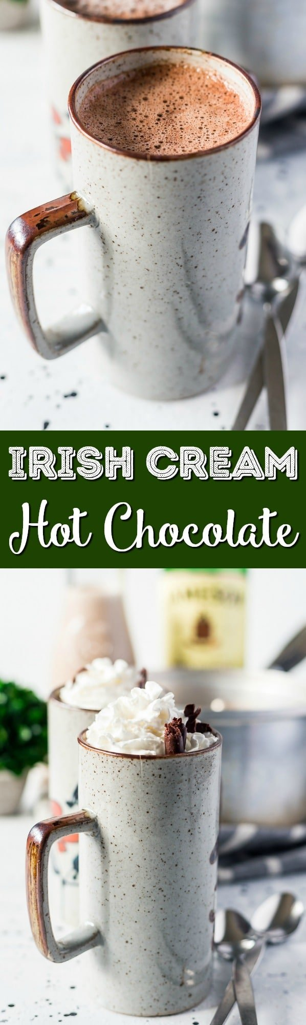 This Irish Cream Hot Chocolate is loaded with creamy and delicious flavor and the perfect hot cocktail to cozy up with on chilly nights! via @sugarandsoulco