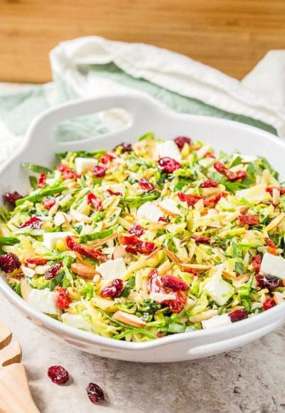This orzo pasta salad with feta cheese, spinach, and brussels sprouts is an amazingly simple, easy and delicious salad that you can prepare in under 30 mins. A perfect side for party dinner or family meals.