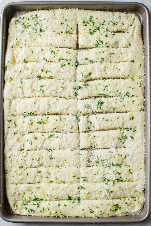 Garlic parmesan breadsticks before baking