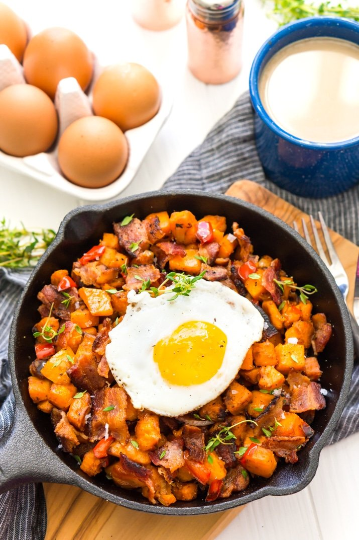 Sweet Potato Has with Eggs and Bacon