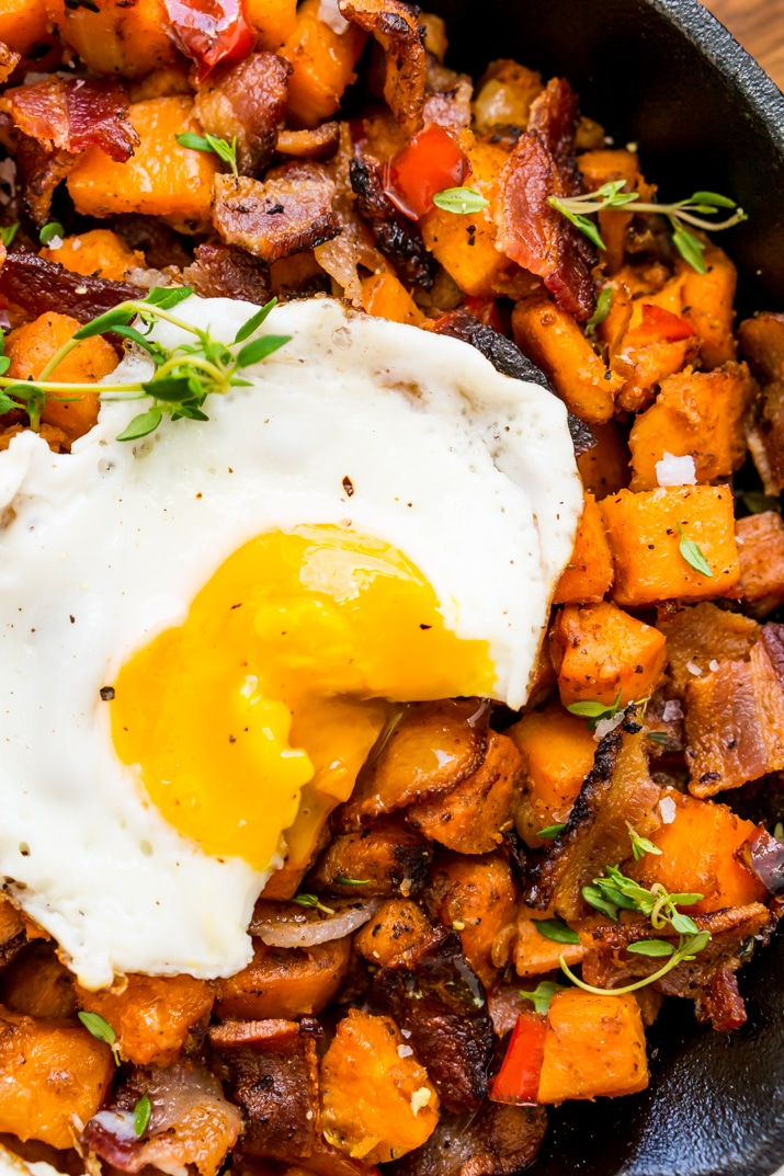 Eggs and Bacon Sweet Potato Hash Breakfast Recipe