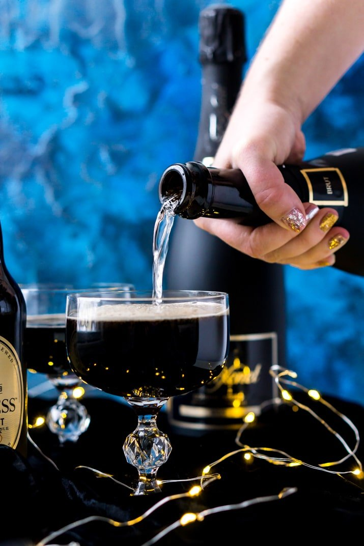 Black Velvet Cocktail - A rich and delicious drink made with Guinness and champagne.