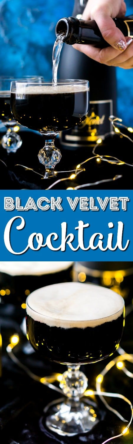 This Guinness and Champagne Black Velvet Cocktail is a deliciously easy drink made with stout and bubbly! The best quick cocktail for New Year's Eve, St. Patrick's Day, or just because!