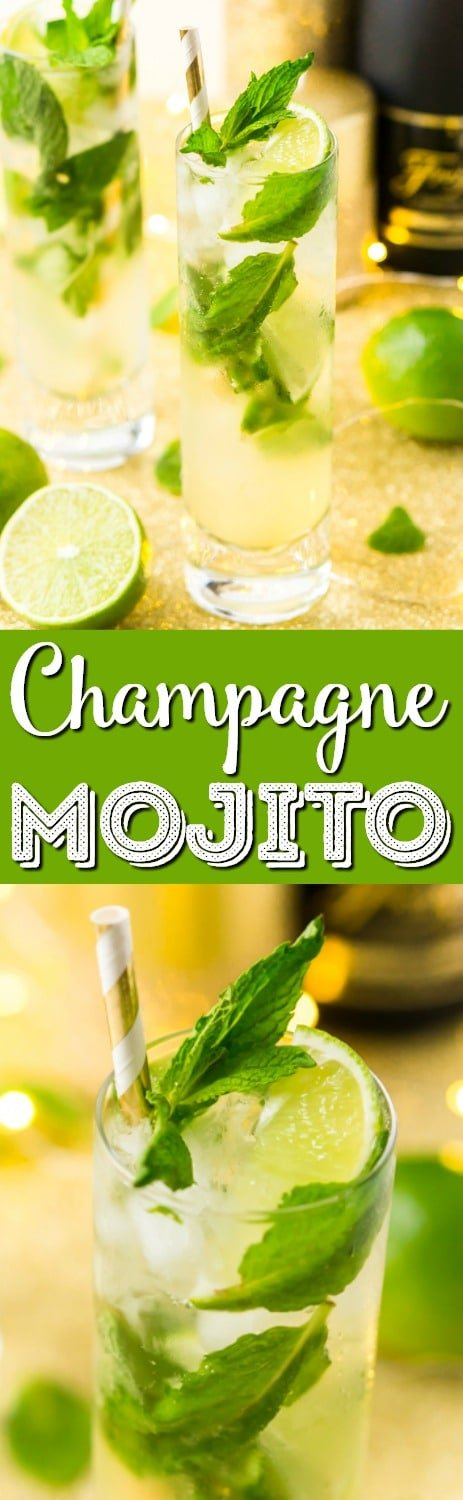 This Champagne Mojito Recipe is a bubbly twist on the classic cocktail making it perfect for parties and celebrations. Made with fresh limes, mint, simple syrup, rum, and champagne, everyone will love this zesty and refreshing cocktail! via @sugarandsoulco