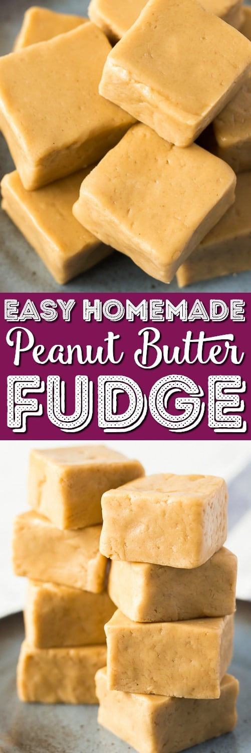 This Easy Peanut Butter Fudge is a simple recipe to make and is the perfect balance of sweet and salty. It's soft and creamy and great for the holidays and special occasionsor just because! via @sugarandsoulco