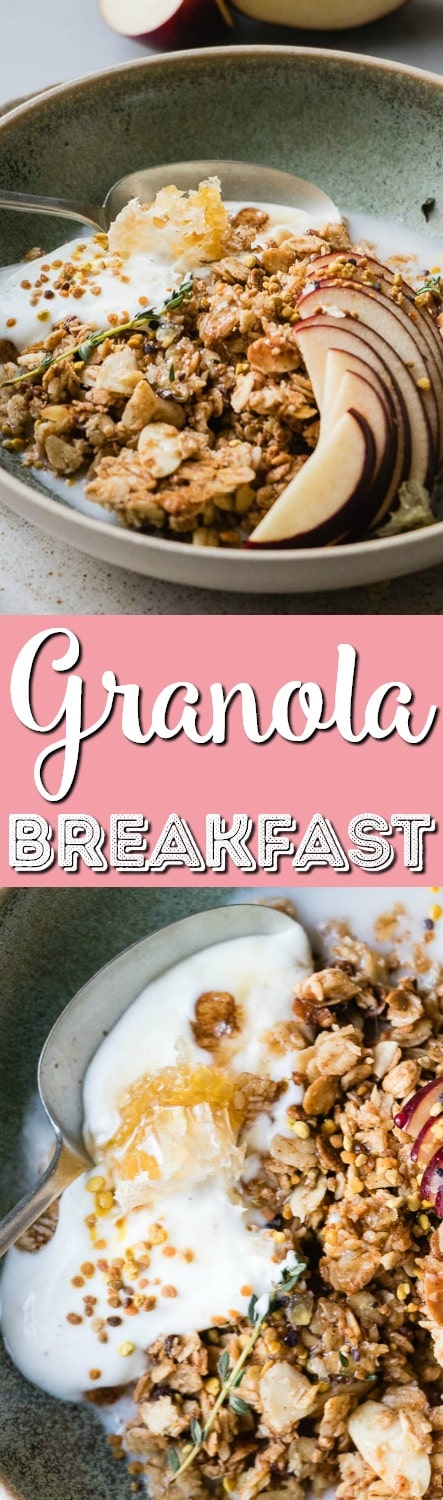 Warm Granola Breakfast Bowl is the perfect cozy start to any morning. Healthy oats, sweet, natural maple syrup and toasted almonds and coconut. These are the winter equivalent of a warm hug on a cold day. #Breakfast #Granola #Healthy via @sugarandsoulco
