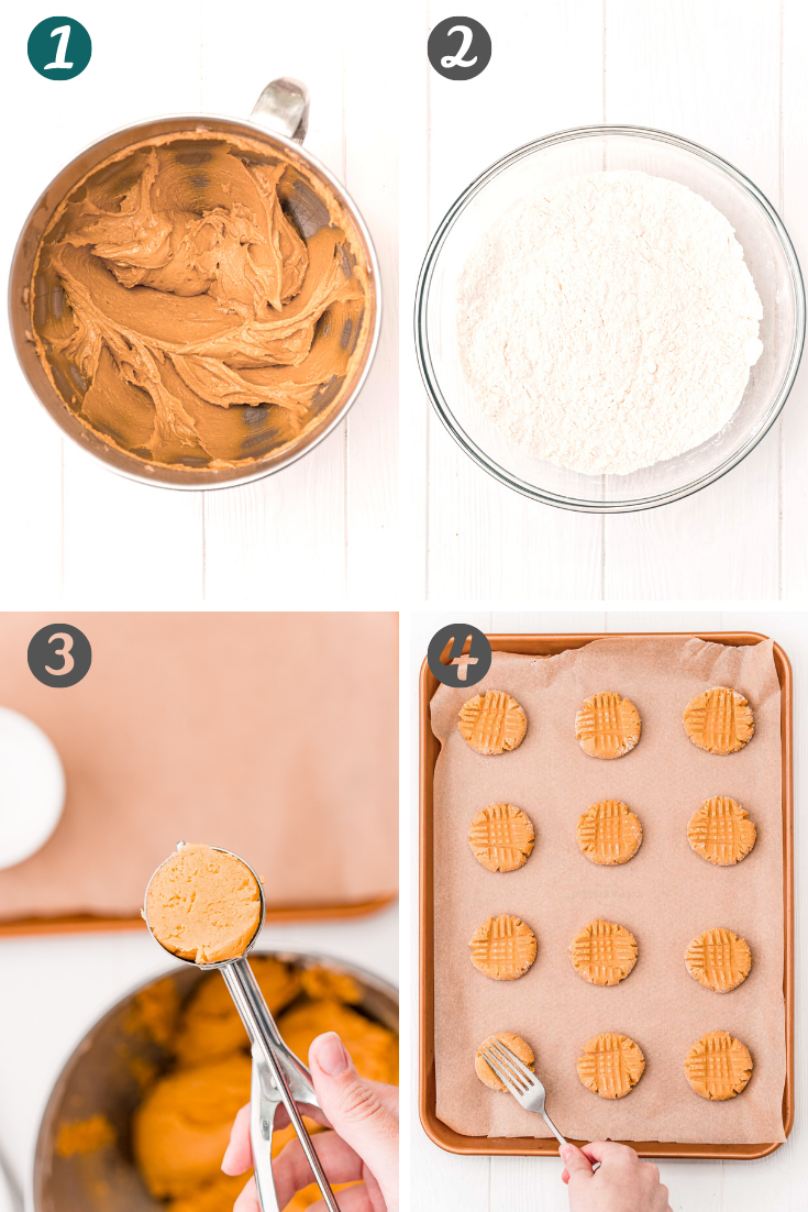 Step-by-step photo collage showing how to make peanut butter cookies.