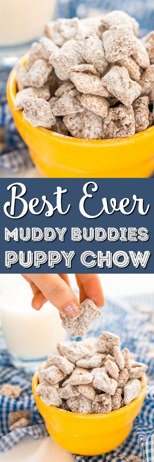 This Muddy Buddies or Puppy Chow recipe is an easy and addictive treat perfect for everyday celebrations and the holidays! Loaded with butter, chocolate, peanut butter, and powdered sugar, and ready in just 15 minutes! via @sugarandsoulco