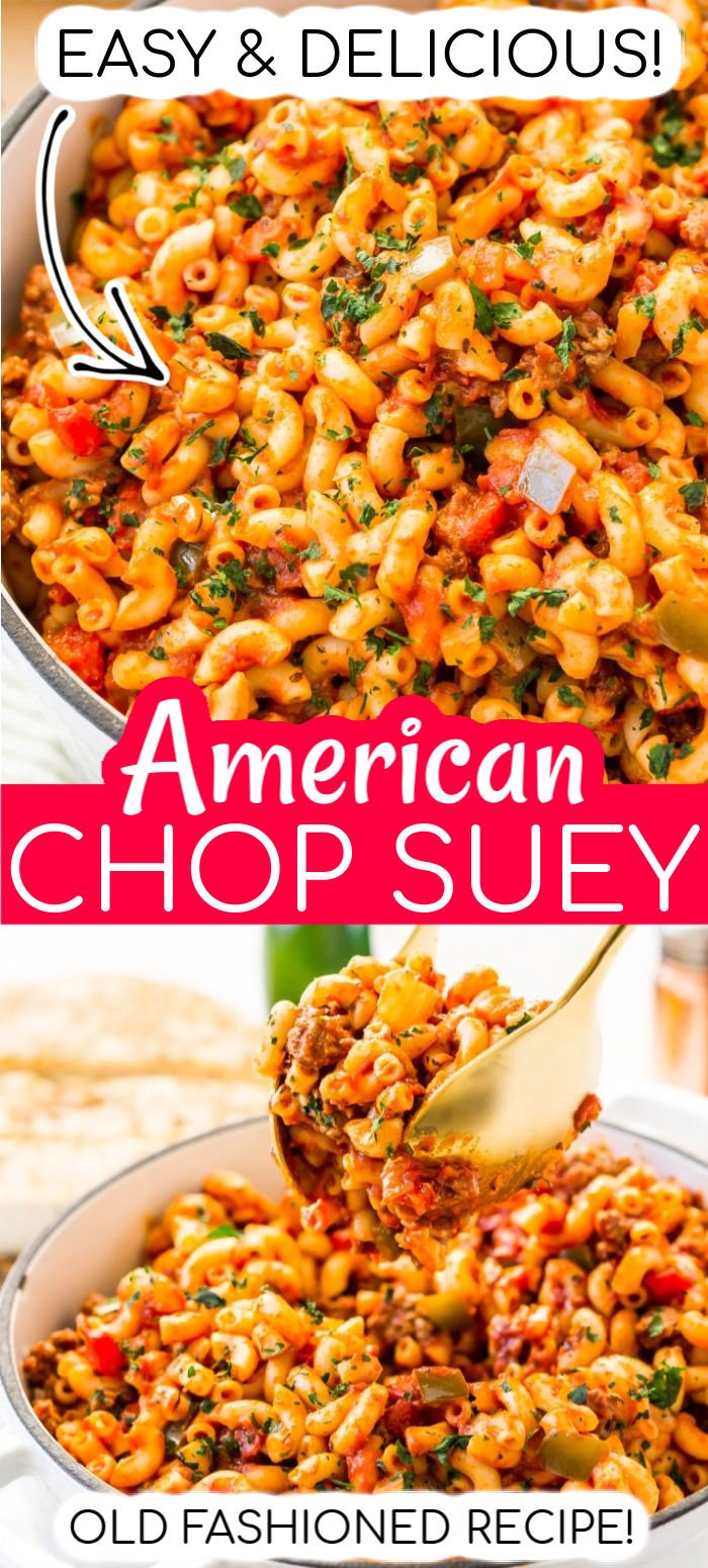 American Chop Suey is a delicious and easy dinner recipe made with ground beef, tomato, onion, green pepper, macaroni, and spices.