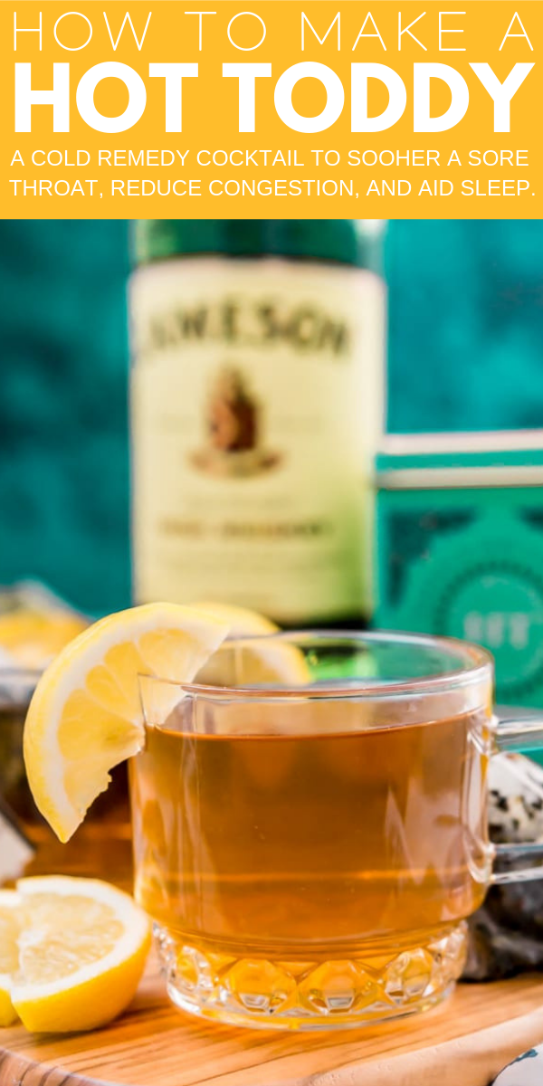 a cold remedy you can mix up at home with simple ingredients that will soothe a sore throat, reduce congestion, and aid sleep. A mixed drink recipe made with lemon, honey, whiskey, and tea.