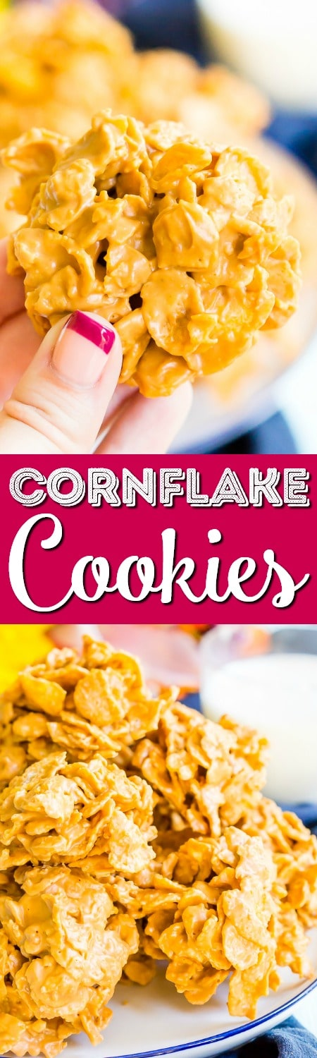 These Butterscotch Cornflake Cookies are made with just three ingredients: peanut butter, butterscotch, and frosted flakes. They're no-bake too which makes them the perfect easy dessert! via @sugarandsoulco