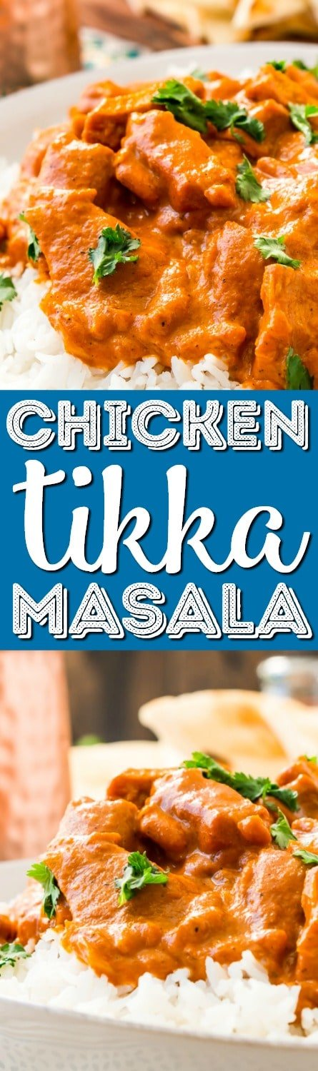 This Easy Chicken Tikka Masala Recipe is a delicious British Indian recipe made with a rich and creamy tomato curry sauce loaded with bold spices and chicken. via @sugarandsoulco