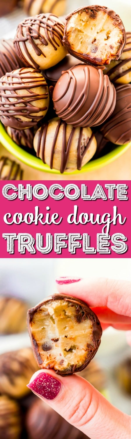 These Cookie Dough Truffles are easy to make, safe to eat, and totally addictive! These chocolate covered treats perfect for parties, game days, or to satisfy cravings any time of the day or night. via @sugarandsoulco