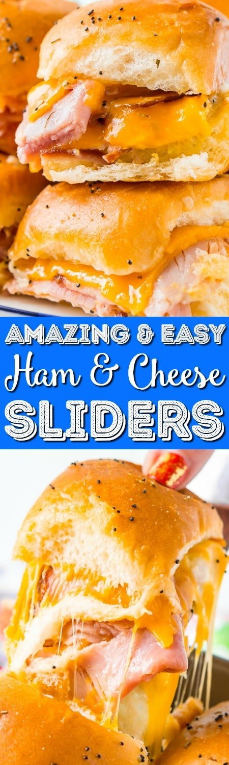 This Ham and Cheese Sliders Recipe is the ultimate EASY game day dish or weeknight dinner! Made with simple, family-favorite ingredients, these sliders made with honey ham and melted cheddar cheese will have everyone begging for seconds! #sliders #gameday #ham #cheese #appetizer #partyfood