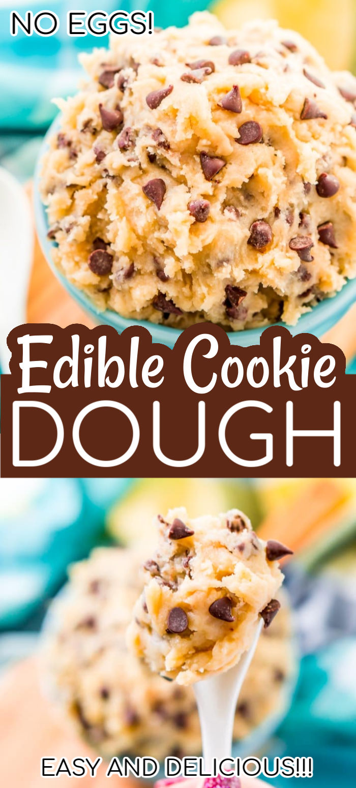 This Edible Cookie Dough recipe is an eggless and delicious treat you can make in just 10 minutes! Made with butter, sugar, flour, salt, and chocolate chips! via @sugarandsoulco