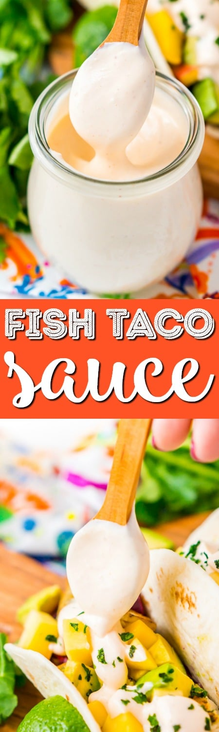 This Fish Taco Sauce is the ultimate topping for fish tacos. It's a creamy a delicious blend of sour cream, mayonnaise, lime juice, sriracha, garlic, and cumin. via @sugarandsoulco