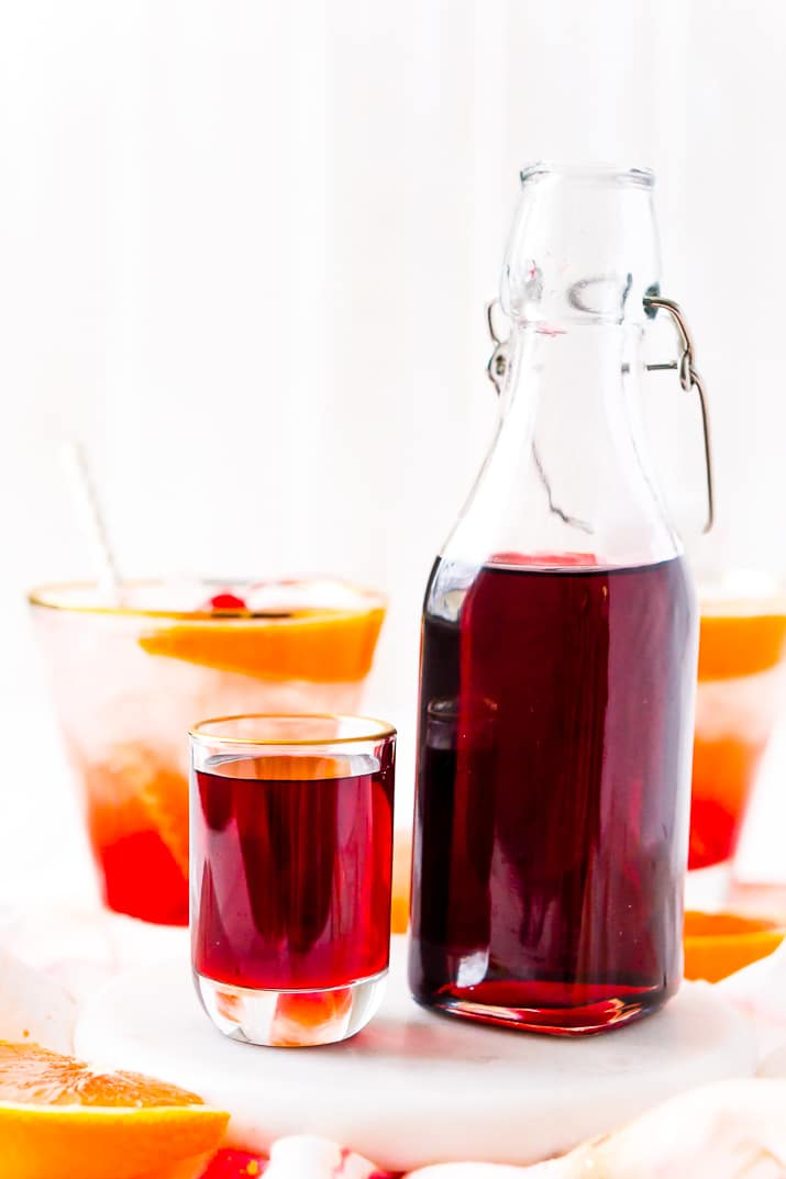 This recipe for Grenadine Syrup allows you to make this fresh and flavorful cocktail syrup right at home. Made with pomegranate juice, sugar, and lemon juice, it's ready to use in about 30 minutes and tastes so much better than that store-bought stuff!