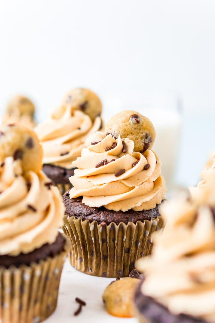 Cookie Dough Cupcakes with Peanut Butter Frosting