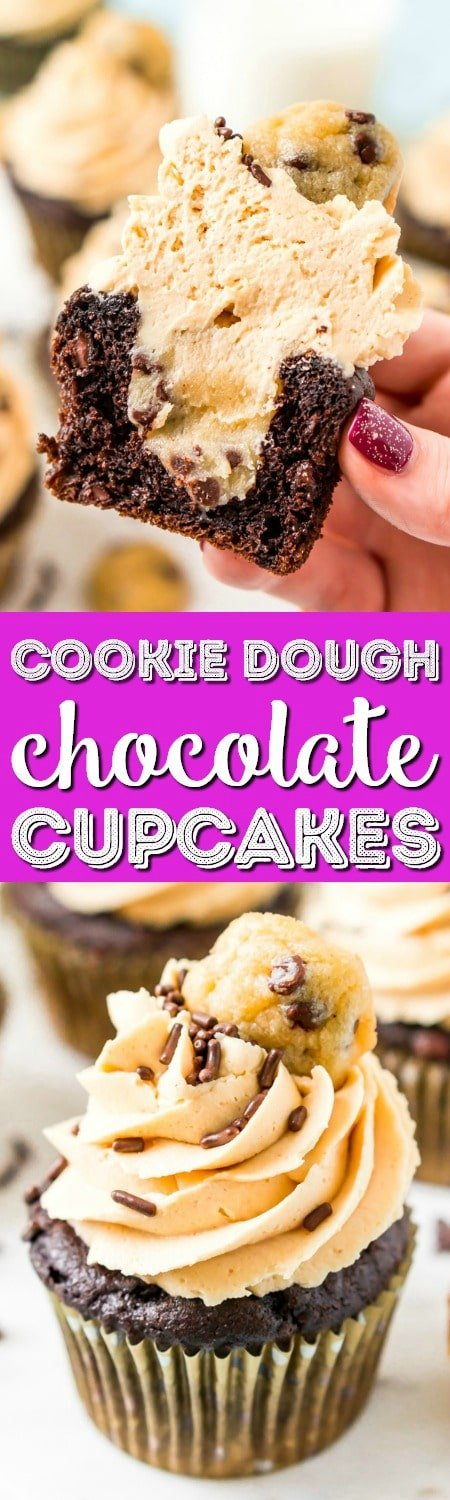 These Cookie Dough Cupcakes are made by stuffing an edible cookie dough into moist chocolate cupcakes and then topping it with a velvety peanut butter frosting, sprinkles, and a mini chocolate chip cookie! #cookiedough #cupcakes #chocolate #peanutbutter #dessert
