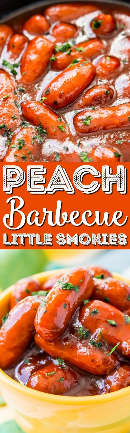 These Peach Barbecue Little Smokies are going to be an instant game day party hit! Made in the slow cooker with barbecue sauce, peach preserves, and cayenne pepper, it's an addictive appetizer recipe everyone will love!