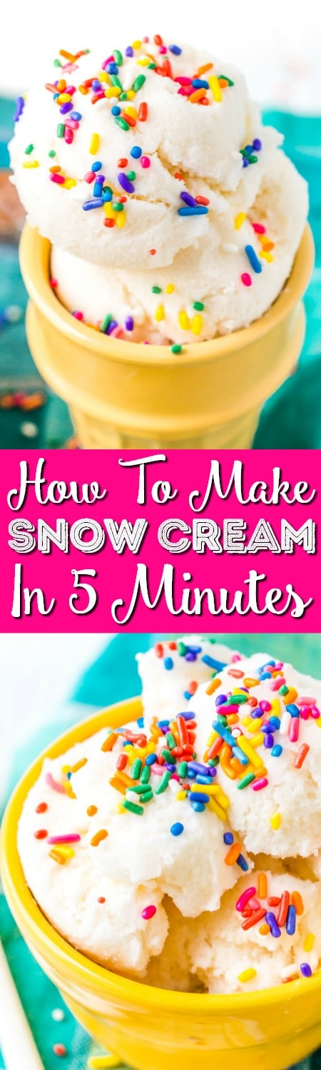 This Snow Cream is an easy homemade ice cream made out of actual snow! A fun recipe to make with the kiddos in vanilla, caramel, or chocolate flavor!