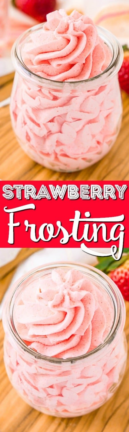 This Strawberry Frosting is so easy to make with just 3 ingredients. It's a light, fluffy, and delicious pink frosting you can use on cupcakes, cakes, and more! #strawberry #frosting