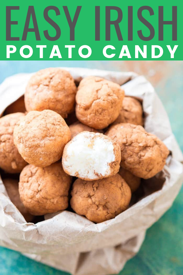 This Irish Potato Candy is perfect for celebrating St. Patrick's Day with! Made from coconut, cream cheese, sugar, and cinnamon and look like potatoes! via @sugarandsoulco