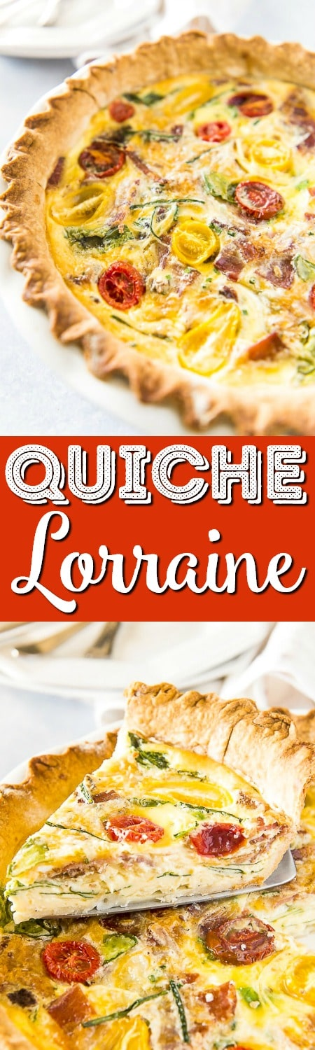 This hearty, crowd-pleasing Bacon Onion Spinach Quiche Lorraine only looks fancy! The preparation is beyond simple, but the final product is sure to become your new favorite breakfast dish!