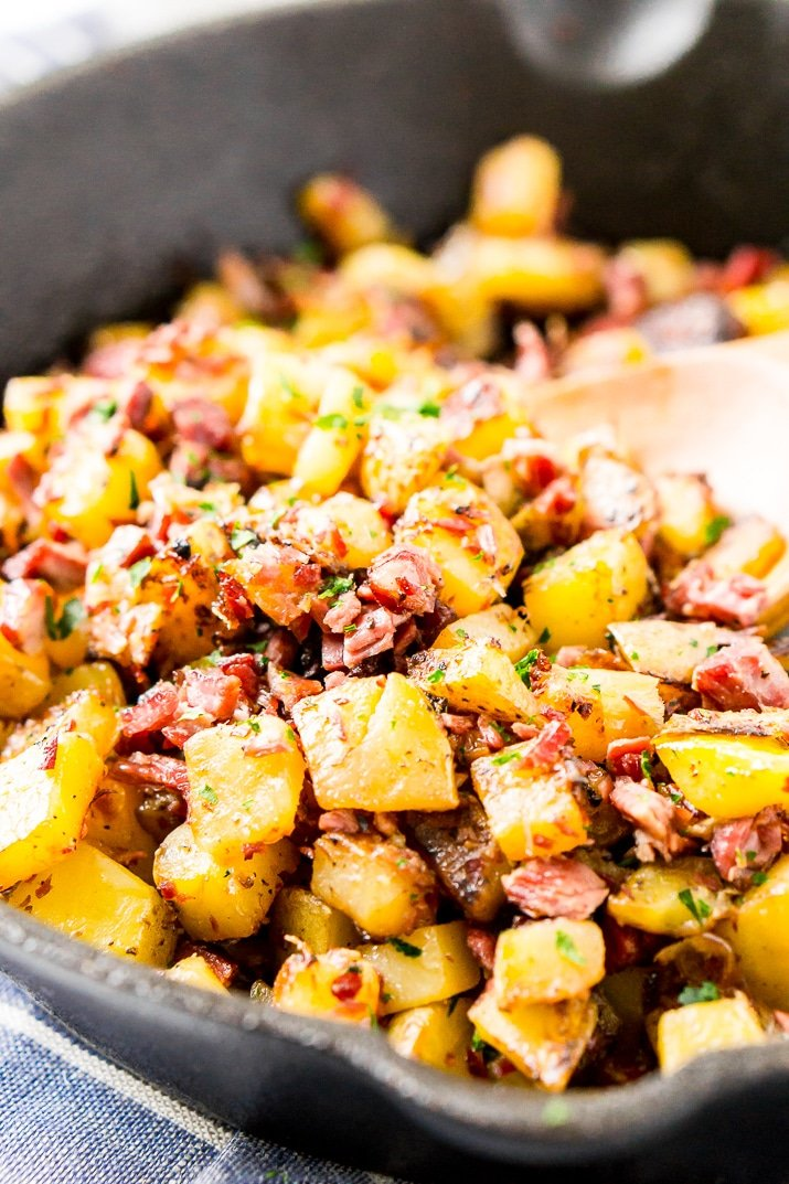 Corned beef hash in cast iron skillet