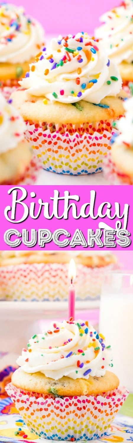 These Birthday Cupcakes are a delicious and fluffy vanilla almond cake that's loaded with sprinkles and topped with an easy and addictive whipped frosting!