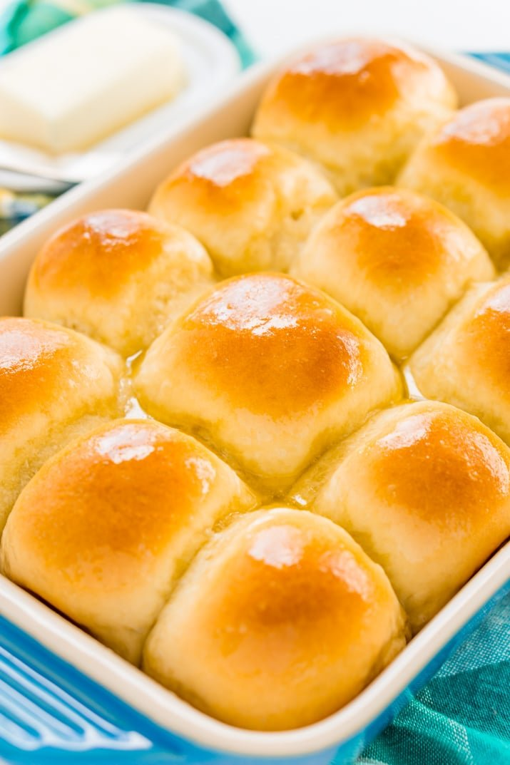 Buttery yeast rolls in pan
