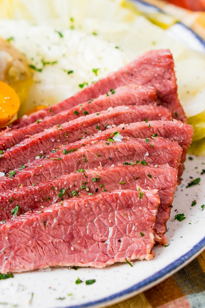 Close up of sliced corned beef on plate