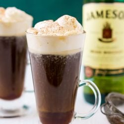 This Irish Coffee recipe is a traditional drink recipe made with coffee, whiskey, sugar, brown sugar, and whipped cream. A spiked coffee for weekends and dessert.